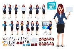 Insieme femminile di vettore del carattere di affari Donna dell'ufficio che parla e che tiene bordo bianco in bianco illustrazione vettoriale