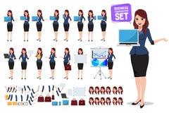 Insieme femminile di vettore del carattere di affari Donna dell'ufficio che parla e che tiene lo schermo del computer portatile illustrazione di stock