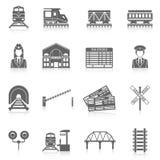 Insieme ferroviario dell'icona Fotografia Stock Libera da Diritti