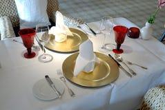 Insieme festivo della tabella pranzante Fotografia Stock