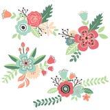 Insieme floreale d'annata di tiraggio della mano illustrazione di stock