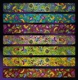 Insieme floreale decorativo del fondo della banda di fantasia Fotografia Stock Libera da Diritti