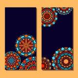 Insieme floreale della mandala del cerchio variopinto del fondo delle carte in blu ed in arancio, vettore Fotografia Stock Libera da Diritti