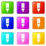 Insieme fluorescente delle icone 9 della lampadina Fotografie Stock