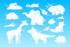 Insieme a forma di animale della nuvola di vettore illustrazione vettoriale