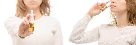 Insieme freddo sano di malattia di influenza della medicina nazal dello spruzzo del naso della medicina delle mani della femmina Fotografie Stock Libere da Diritti