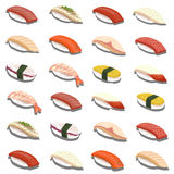 Insieme fresco dei sushi isolato Fotografie Stock
