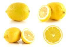 Insieme fresco del limone, isolato su fondo bianco. Fotografia Stock Libera da Diritti