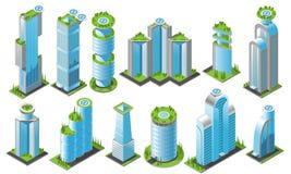 Insieme futuristico isometrico dell'icona dei grattacieli Fotografie Stock