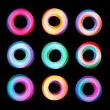 Insieme geometrico astratto insolito di logo di vettore di forme Circolare, raccolta variopinta poligonale dei logotypes sul nero Fotografie Stock Libere da Diritti