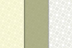 Insieme geometrico bianco verde oliva e di verde dei modelli senza cuciture Fotografia Stock Libera da Diritti