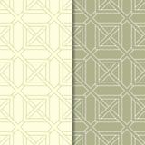 Insieme geometrico di verde verde oliva dei modelli senza cuciture Fotografie Stock