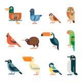 Insieme geometrico minimo dell'icona degli uccelli Fotografie Stock Libere da Diritti