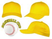 Insieme giallo del berretto da baseball Fotografia Stock Libera da Diritti