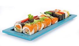 Insieme giapponese dei sushi dei frutti di mare Immagine Stock