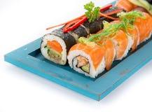 Insieme giapponese dei sushi dei frutti di mare Immagine Stock Libera da Diritti