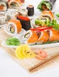 Insieme giapponese dei sushi dei frutti di mare Immagini Stock