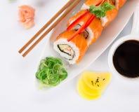 Insieme giapponese dei sushi dei frutti di mare Fotografia Stock