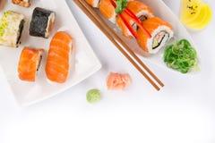 Insieme giapponese dei sushi dei frutti di mare Fotografie Stock