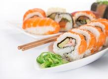 Insieme giapponese dei sushi dei frutti di mare Immagini Stock Libere da Diritti