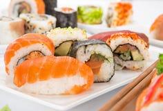 Insieme giapponese dei sushi dei frutti di mare Fotografie Stock Libere da Diritti