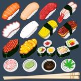 Insieme giapponese dell'accumulazione dei sushi Immagine Stock Libera da Diritti