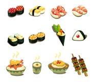 Insieme giapponese dell'icona dell'alimento del fumetto Fotografia Stock Libera da Diritti