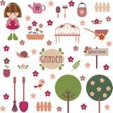 Insieme girlish sveglio del giardino illustrazione vettoriale