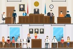 Insieme giudiziario dell'interno della corte royalty illustrazione gratis