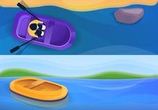 Insieme gonfiabile di gomma dell'insegna della barca, stile del fumetto illustrazione vettoriale
