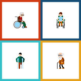 Insieme handicappato icona piana del disabile, danneggiato, della sedia a rotelle e di altri oggetti di vettore Inoltre include l Immagini Stock Libere da Diritti