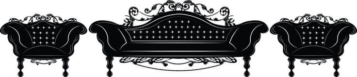 Insieme imperiale barrocco della mobilia della tappezzeria Fotografie Stock Libere da Diritti