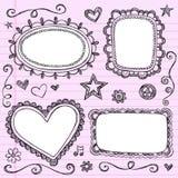 Insieme impreciso di vettore di Doodles dei bordi dei blocchi per grafici Fotografia Stock