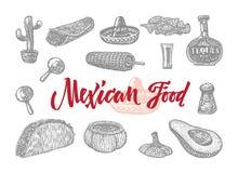Insieme inciso alimento messicano royalty illustrazione gratis