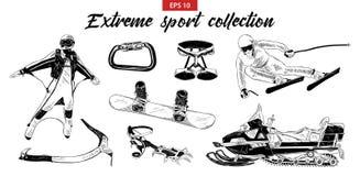 Insieme inciso disegnato a mano di schizzo degli sport estremi isolato su fondo bianco illustrazione vettoriale