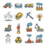 Insieme industriale dell'icona di schizzo Fotografia Stock Libera da Diritti