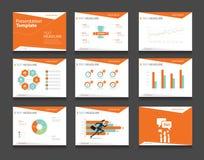 Insieme infographic arancio del modello di presentazione di affari ambiti di provenienza di progettazione del modello di PowerPoi Fotografia Stock