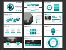 Insieme infographic del modello degli elementi di presentazione di affari, progettazione orizzontale corporativa dell'opuscolo de Fotografie Stock