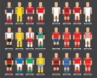 Insieme infographic di stile piano di vettore dell'euro 2016 delle magliette di calcio Fotografie Stock Libere da Diritti