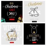 Insieme insegne mobili di vendita del nuovo anno e di Natale Immagine Stock