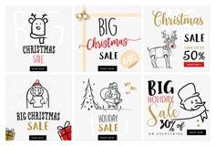 Insieme insegne mobili di vendita del nuovo anno e di Natale Fotografia Stock