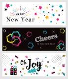 Insieme insegne sociali di media del nuovo anno e di Natale Fotografia Stock