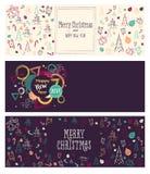 Insieme insegne sociali di media del nuovo anno e di Natale Immagini Stock