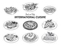 Insieme internazionale di cucina di schizzo disegnato a mano di vettore Immagine Stock