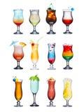 Insieme isolato dei cocktail di frutta Immagini Stock