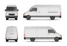 Insieme isolato del vettore Modello bianco di van vector per l'automobile che marca a caldo e che annuncia Mini bus dal lato illustrazione di stock