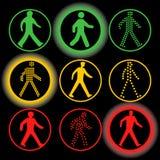 Insieme isolato di logo di vettore degli elementi dei semafori Segnali stradali circolari Fotografie Stock Libere da Diritti
