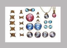 Insieme isolato gemme di cristallo disegnate a mano delle pietre preziose Connettori dell'oro per la collana dei gioielli Zaffiro Immagini Stock