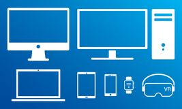 Insieme isolato icone bianche digitali moderne degli schermi royalty illustrazione gratis