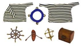 Insieme isolato oggetti marini Immagini Stock